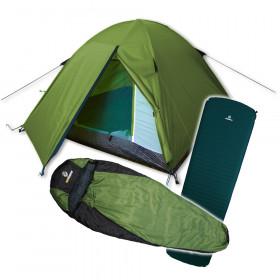 outdoorer Festival Ausstattung bestehend aus 3 Mann Zelt, Isomatte und Leichtschlafsack