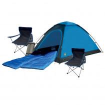 Festival Camping Set – Zelt Set für 2 Personen mit Isomatten, Schlafsäcken & Faltstühlen