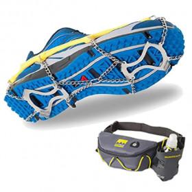 Schuhspikes für Eis und Schnee inkl. Gürteltasche – Schuhkrallen für Halb- & Laufschuhe