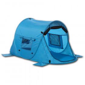 Kinder-Strandmuschel & Reisebett Zack Premium Baby - UV 80, drei Fenster, Moskitonetz vor dem Eingang