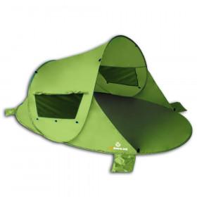 Pop Up Strandmuschel Zack Premium, grün inkl. Sandheringe und 3 Fenster