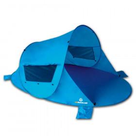 Pop Up Strandmuschel Zack Premium, blau inkl. Sandheringe und 3 Fenster