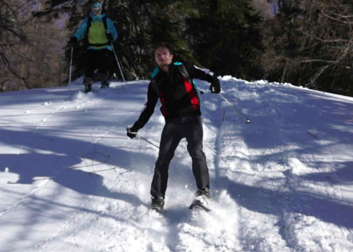 Schneeschuhwandern - rutschen